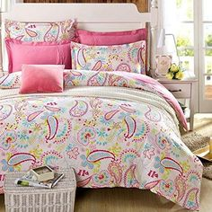Cliab Paisley Bedding Pink Twin Girls Duvet Cover Set 100% Cotton 5 Pieces(fitted Sheet Included)