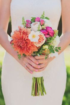 Bright, summer bouquet: http://www.stylemepretty.com/2014/12/17/romantic-marthas-vineyard-wedding/ | Photography: Our Labor of Love - http://ourlaboroflove.com/
