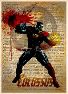 Colossus Xmen, Splatter superhero art, Vintage dictionary print, Colossus art print