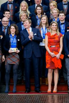 King Willem-Alexander and Queen Maxima of The Netherlands welcome the Olympic medal winners at Palace Noordeinde in The Hague, The Netherlands, 25 Feb 2014.