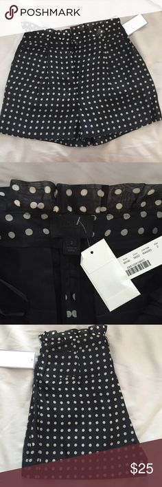 J. Crew Collection high rise polka dot shorts J. Crew Collection size 2. These shorts are high rise with a ruffle at the waist. Black shorts with a ivory/silvery polka dot. Inseam is 3 inches. Great for a nice dinner out! NWT. J. Crew Shorts