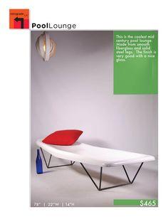 Mid Century Modern White Fiberglass Pool Chaise by RetrogradeLA, $465.00
