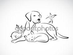 depositphotos_69423641-Vector-group-of-pets---Dog-cat-bird-rabbit-isolated-on-white.jpg (1024×785)