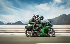 """Scarica sfondi """"Kawasaki Ninja H2 SX SE, strada, 2018 moto, superbike, ciclisti, Kawasaki Ninja, Kawasaki"""