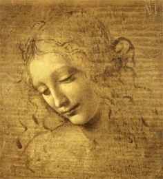 Head of a woman with tousled hair(1506-18) by Leonardo da Vinci