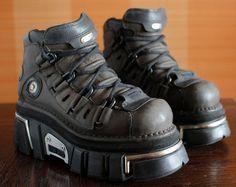 New Rock dark brown/black platform shoes GOTH moto