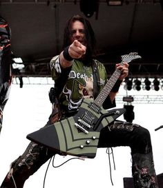 Jason Hook on stage, Jason is the Lead Guitarist for Five Finger Death Punch.  http://www.rockstar-marketing.com