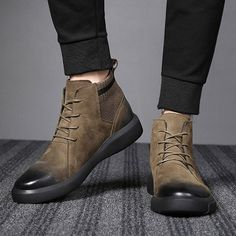 70d376a2c421e Men Retro Color Leather Fabric Splicing Non-slip Soft Sole Casual Boots is  fashionable, come to NewChic to buy mens boots online.