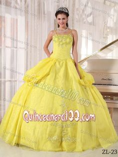 Appliqued Yellow Sweet Sixteen Dresses with Spaghetti Straps