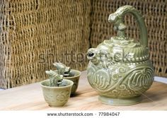 Chinese Teapot And Two Green Dragon Greedy Cups
