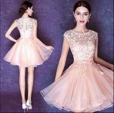 79a6cd41c71 New Chic Women Pink Lace Sexy Chiffon Bridesmaid Prom Princess Short Party  Dress