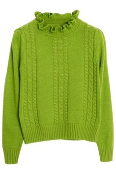 Fashion Long-Sleeve Cable Knit Sweater with Ruffles High Neck. This long-sleeved sweater will be topping our must-have list as soon as the cooler weather rolls in. It features ruffles high neck, long sleeves,ribbed trim. Warm Sweaters, Cable Knit Sweaters, Sweaters For Women, Knitting Designs, Long Sleeve Sweater, Ruffles, Cardigans, Women's Fashion, Pullover