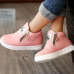 PU Leather Children's Boots with Zip Closure