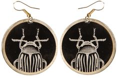 CURIOUS BEETLE CIRCLE EARRINGS Peculiarly perfect earrings for those with eccentric taste! These black circular earrings feature a Japanese beetle in the center with a gold finish border.  $10.00