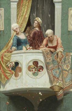 John Bagnold Burgess - On the balcony