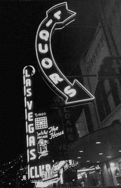 1952 Las Vegas Club on Fremont Street, downtown Las Vegas neon sign,  Vintage Photo