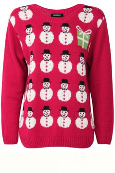 Look perfect in pink this #xmasjumperday with this snowman sweater.