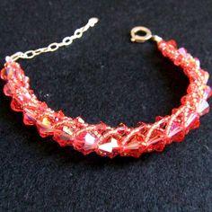 Beautiful Swarovski 'Fire Opal' Crystal Bracelet handmade by Stephanie Sara Jewellery