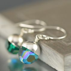 South Paw Studios Handcrafted Designer Jewelry - Emerald Swarovski crystal earrings, May Birthstone