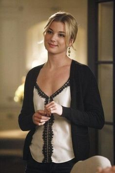 Emily VanCamp wears a sweet lace-infused lingerie camisole.  Photo courtesy of 2012 ABC, Inc. - www.fabsugar.com