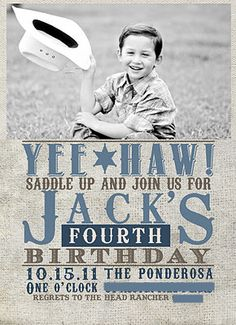 A Cowboy Birthday Party....this would be a cute invitation for Makenna and Wyland