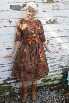 Vintage 50s Autumn Batik Frock by Carol Craig 88f4f71af1