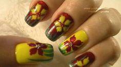 Red, Yellow and Green Nail Art Tutorial / Arte para las unas en Rojo, Amarillo y Verde, via YouTube.