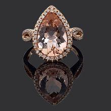 9ct Rose Gold Morganite & Diamond Pear Shaped ring | Chilton's Antiques