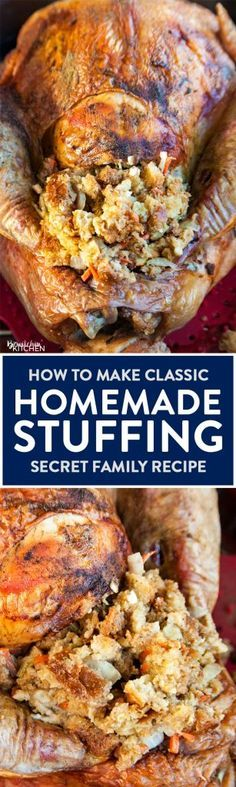 My family's classic homemade stuffing recipe. Looking on how to make homemade turkey stuffing? This is my family's secret stuffing recipe. It's a classic at Thanksgiving dinner, Christmas dinner, and Easter dinner. Homemade Turkey Stuffing, Stuffing Recipes, Turkey Recipes, Fall Recipes, Holiday Recipes, Stuffing In Turkey, Stuffing For Chicken, Stuffing Mix, Christmas Desserts