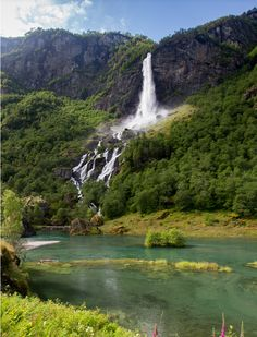 Waterfall in Aurlandsfjord, near Flåm, Norway (by M Molde)