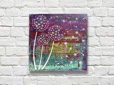 Mixed Media Dandelion Stenciled Canvas -- Stencil dandelions on a color-filled background. #decoartprojects