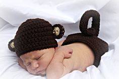 Adorable monkey hat and diaper cover with long curly tail. Perfect for your…