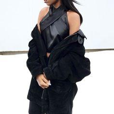 @ryandestiny wears her HofS X top in black raw edge satin #houseofsunny #ootd #ss16
