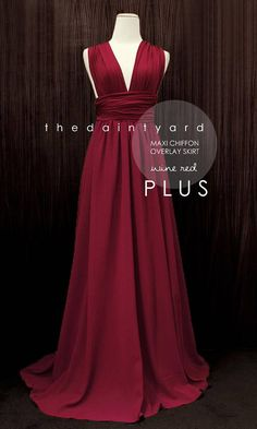 TDY Plus Size Wine red Chiffon Overlay Skirt for Maxi Long Wine Bridesmaid  Dresses ed32ccc35f21