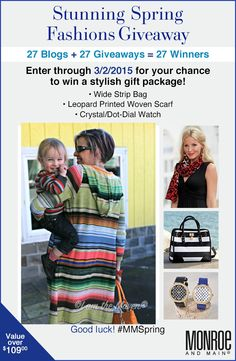 Monroe and Main Spring Fashions Giveaway! Enter to win a stylish gift package worth over $100! 27 chances to win! #MMSpring #Sponsored
