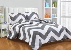 Super Soft 2pcs Reversible Grey White Zig Zag Chevron Comforter Set Twin/Twin XL #ChezmoiCollection #Contemporary