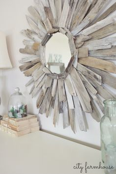 City Farmhouse-DIY Thrifty & Pretty Driftwood Mirror-budget friendly project
