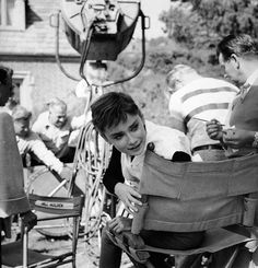 Audrey Hepburn on the set of SABRINA (1954)