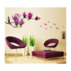 Buy Purple Magnolia Flower Wall Stickers Bedroom Parlor Wall Stickers Home Decor Living Room Paper Sticker Vinyl Wall Decals