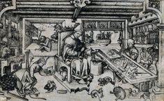 15th century engraving of the goldsmith, and patron saint of goldsmiths, Saint…