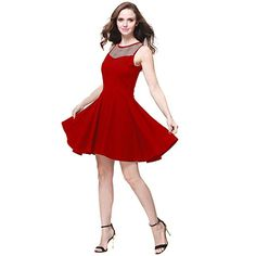 a6965ddcb5 Buenos Ninos Women s Sleeveless Pleated Mesh Panel A-line Short Flare Party  Dress Red XL