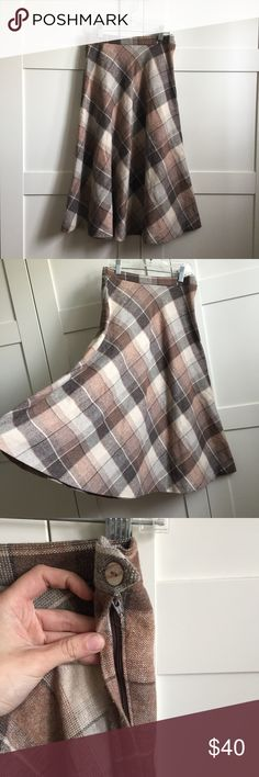 Vintage Plaid Wool Midi Skirt The perfect circle skirt from your 60s, schoolgirl dream. Unfortunately I don't wear a lot of brown so I'm choosing to part with it. I'm a 00, and it fits me as a high waisted skirt. Skirts Midi