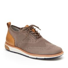 Jambu-Franklin Wingtip Oxford Update dressy looks with the Franklin wingtip oxford from Jambu. With a trendy knit upper and a contrasting heel counter, this lace-up will pair easily with jeans or slacks. Men's Shoes, Dress Shoes, Shoes Men, Jambu Shoes, Most Comfortable Shoes, Casual Shoes, Oxford Shoes, Mens Fashion, Slacks