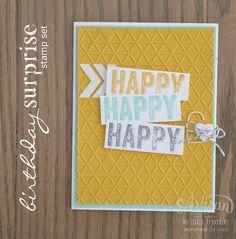 Happy Card using Stampin' Up!'s Birthday Surprise Stamp set - Krista Frattin