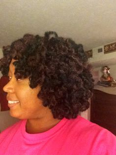 Crotchet braids using Marley braid hair and curled with white perm rods.