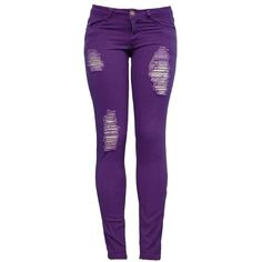 Distressed Purple Skinny Jeans - Juniors Clothing > Bottoms & Jeans >... ($20) ❤ liked on Polyvore featuring jeans, pants, bottoms, calças, skinny jeans, torn jeans, destroyed denim skinny jeans, cut skinny jeans, destroyed jeans and distressed jeans