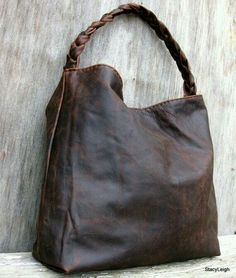 Brown Antiqued Leather Bag by Stacy Leigh RESERVED by stacyleigh Mk Handbags, Purses And Handbags, Hobo Purses, Leather Purses, Leather Handbags, Leather Bags Handmade, Beautiful Bags, My Bags, Handbag Accessories