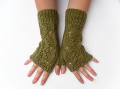 Long fingerless lace gloves  hand knit by TheFeminineTouch on Etsy, £19.50