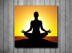Yoga Pose Sunset Art Background Photo Panel - Durable Finish - High Definition - High Gloss
