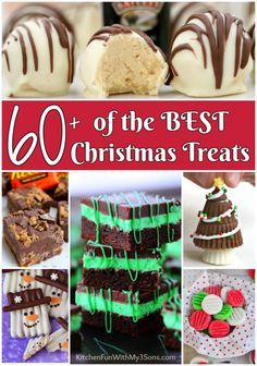 60 of the Best Christmas Treats - Kitchen Fun With My 3 Sons Best Christmas Recipes, Christmas Snacks, Christmas Cooking, Christmas Goodies, Homemade Christmas, Holiday Treats, Christmas Fun, Holiday Recipes, Fudge